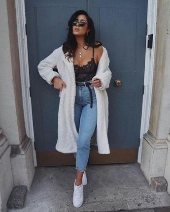 Shop the look #shopthelook #ShopStyle #WeekendLook #TravelOutfit #OOTD #lacebodysuit #whitecoat #fleece #shearlingjacket #DateNight #momjeans #fall #fallfashion #falloutfit #falllook #autumnlook #autumnfashion #autumnoutfits #trends #fashion