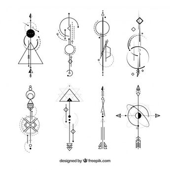 Collection of abstract shapes tattoos Free Vector