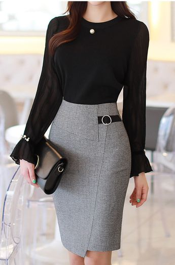Circle Buckle Side Detail Wrap Style Pencil Skirt