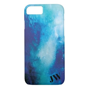 Monogram Modern Trendy Space Star Nebula Blue Case-Mate iPhone Case | Zazzle.com