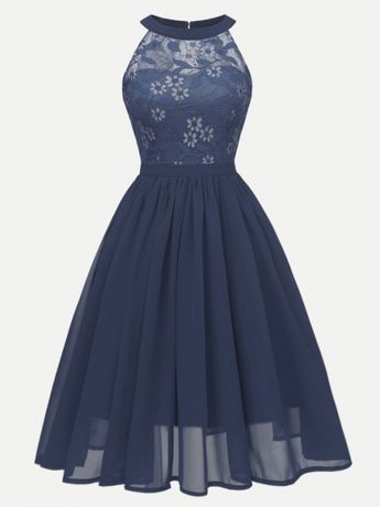 606708638f7a Vinfemass Halter Neck Sleeveless Lace Chiffon Patchwork Party Prom Dress