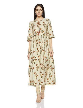 238213caa1 Women indian kurta kurti Long shrug Dress top tees bottom Floral gown  new-nk175 #