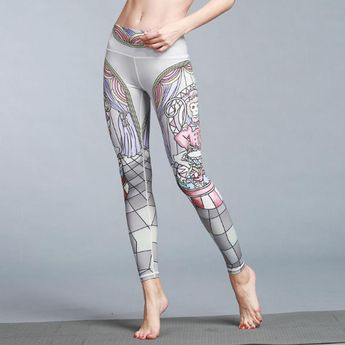 89cac11f18 Silanda Sports Women Floral Printed Yoga Leggings Elastic Yoga Pants Quick  Dry Striped Workout Yoga Fitness