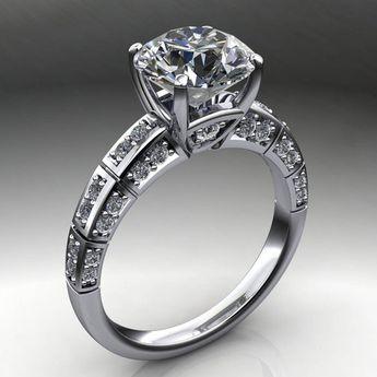 a396ad8bd2023d jada ring - 2 carat diamond cut round NEO moissanite engagement ring, round  moissanite