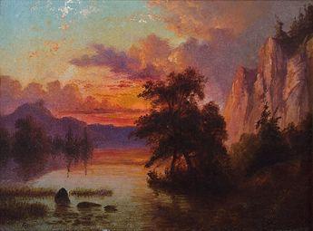 Albert Bierstadt (1830–1902), Western Landscape, oil on paper mounted on board, 6 x 8 1/2 in, Estimate: $30,000–$50,000