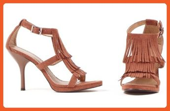 de77a42017cd 4 Inch Sandal Women S Size Shoe With Fringe (Brown 11) - Sa
