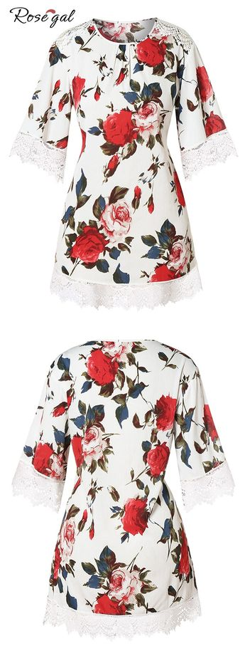 Plus Size Lace Insert Floral Top for Spring #Rosegal #top #womenfashion #spring
