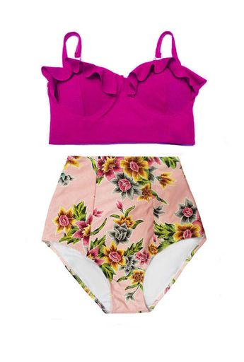 c78fcd5f27fae Burgundy Maroon Plum Wine Midkini top and Pink Gold Flora Floral High  waisted waist Pin up