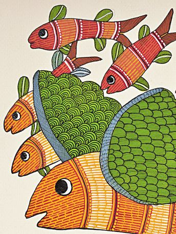 Fish Gond Painting - 14in X - 10in By Rajendra Shyam