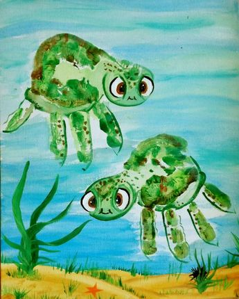 Diy Handprint Turtle Finding Squirt Artwork Momento Keepsake