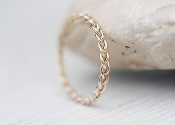 Unique Wedding Band, Handmade Wedding Ring, Solid 14k gold band for Him and Her, Wedding Jewelry, Braided Band, Handmade Wedding
