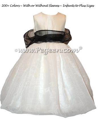 9947a555cd Custom Antique White Silk and Black Organza Flower Girl Dresses by Pegeen.com  Style 326