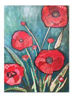Art Room Britt: Shelli Walters-inspired Mixed-Media Collaged Flowers, #art #Britt #Collaged #flowers #MixedMedia #room #Shelli #Waltersinspired