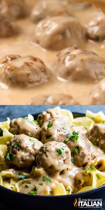 Creamy Swedish Meatballs are a traditional Swedish dish with perfectly browned, flavorful homemade meatballs coated in a rich cream sauce. These are truly the best Swedish Meatballs Ever. Move over IKEA!  #SwedishMeatballs #Homemade