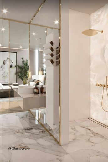 Gold Marble shower / bath goals ! visit my new blog , for more lifestyle , interior design , healthy living content