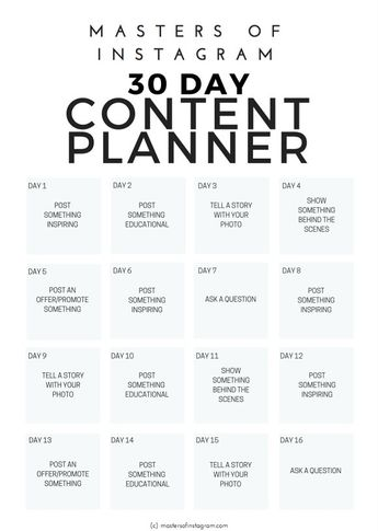 30 Day Instagram Content Planner by Masters of Instagram on @creativemarket