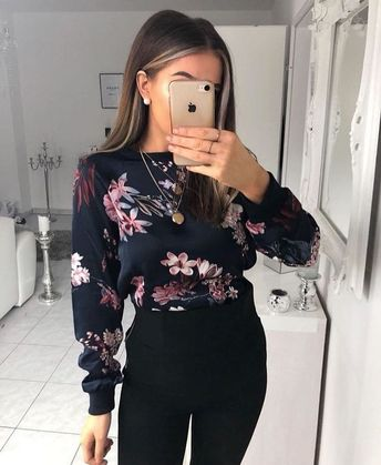 Blouse dark blue with pink flowers