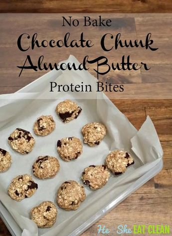 No Bake Chocolate Chunk Almond Butter Protein Bites