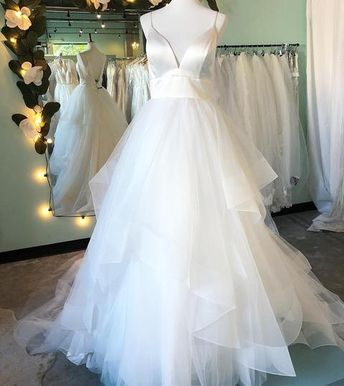 5ad2aaabb6d Simple A-line Straps Ivory Long Wedding Dress with Backless