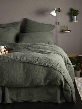 Olive Green 100% Linen Bedding | Secret Linen Store