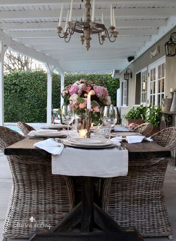 Romantic Summer Table Setting with Pink Peonies & Roses---> #maisondecinq #summertable #summertablescape #tablescape #tablesetting #pinkpeonies #pinkroses #freshflowers #decoratingwithflowers #summerflowers #floralcenterpiece #outdoorliving #outdoordining #outdoorspace #summerentertaining #outdoorentertaining #patio #backyard #farmhousetable #farmhousestyle #frenchcountry #countryfrench #frenchfarmhouse