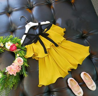 22b374c9d987 Cora Pinafore Dress in Mustard for baby toddler little girl
