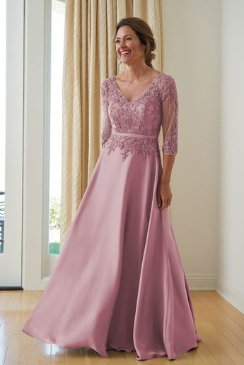 16e2946aa4 K218008 Couture Satin Face Chiffon   Lace MOB Dress with V-Neckline