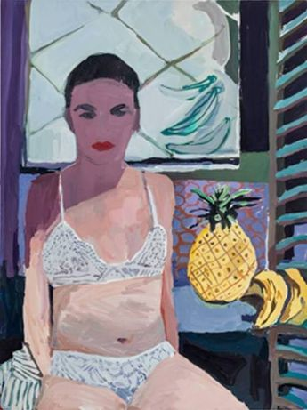 ibby with Pineapple and Bananas    -    Helen Verhoeven  Dutch, b.1974-  Acrylic on linen, 100 x 75 cm / 39.3 x 29.5 in.