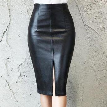 Faux PU Leather Split Women's Midi Skirt Black High Waist Office Ladyliilgal