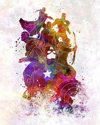 Avengers 02 In Watercolor Art Print by Pablo Romero