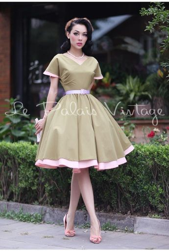 Le palais vintage retro classic 1950 full skirt ball gown color block dress