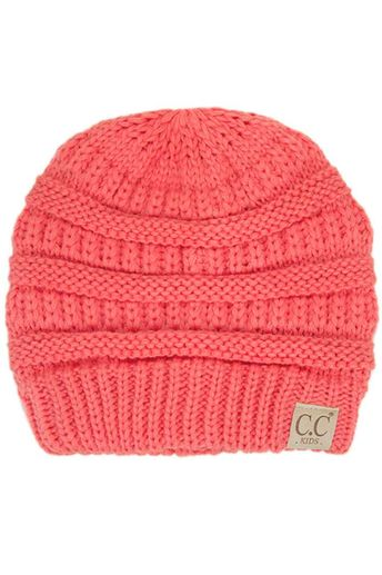 8dffc15fdde C.C. Beanie Cable Knit Beanie for Kids in Coral YJ847-KIDS-CORAL