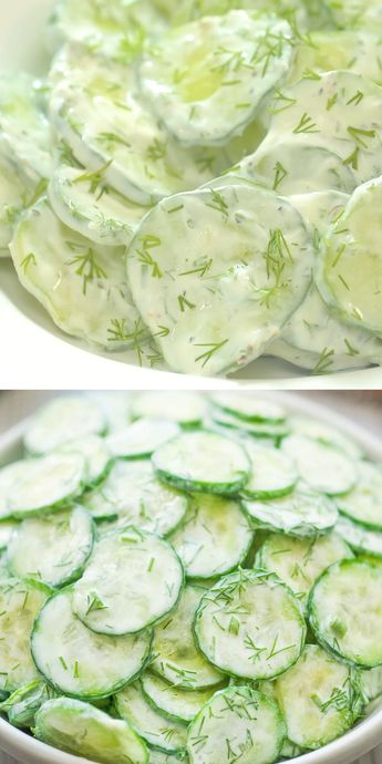 This Creamy German Cucumber Salad is simple, crunchy, and very tasty. It makes a perfect side to any dish and you'll want to eat it all summer long. FOLLOW Cooktoria for more deliciousness! #cucumber #salad #lunch #sidedish #dill #recipeoftheday