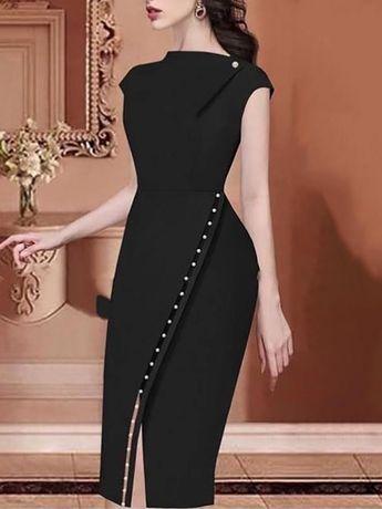 Beading Embellished Slit Irregular Midi Dress