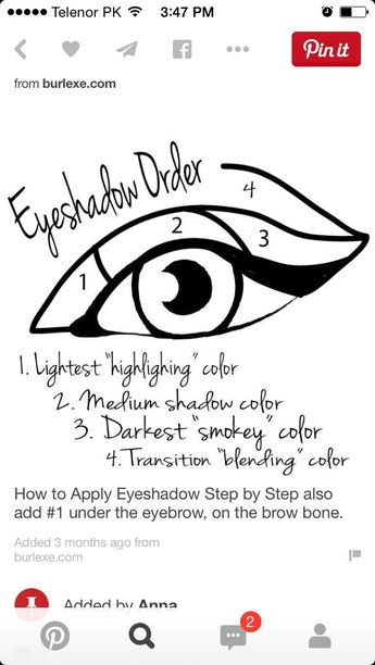 Eyeshdow order | Eye Makeup Tutorials, Makeup Products For Beginners, Makeup Hacks Eyeshadow, Beginner Makeup Tips, Eyeshadow Guide, Beginner Makeup Tutorial, Younique Eyeshadow, Eyeshadow Steps, Makeup Younique