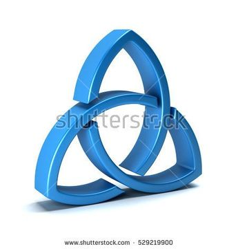 Trinity Knot or Triquetra Isolated on White Background. 3D Rendering Illustration
