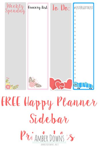 Happy Planner sidebar printable