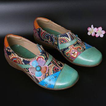 Socofy SOCOFY Folkways Floral Patrón Piel Genuina Empalmes Jacquard, cómodos zapatos planos con cremallera - NewChic Móvil