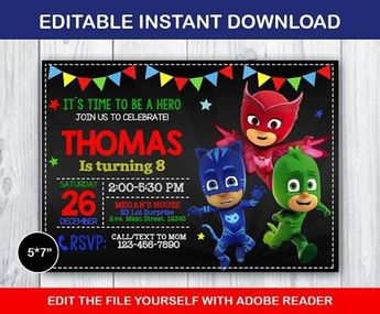 30acb1c107 PJ Masks, Birthday Invitation, Digital Pinterest Media analytics ...
