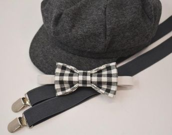 6efe9d4f734 Bow Tie Suspenders Newsboy Gray Cap Hat   Black White Plaid Bow Tie   Charcoal  Gray