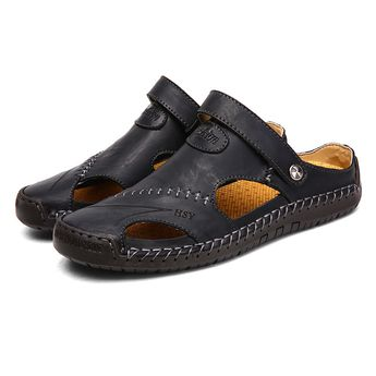 2019 Summer Beach Sandals Men Split Leather Roman Slippers Male Outdoor Sneakers Casual Beach Rubber Flip Flops Slip On Sandals