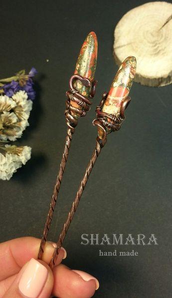 Copper hairpins.