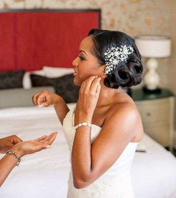 Black Girl Wedding Hairstyles. Flowers instead of that hair thingy though...(Pro