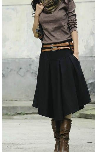 New Retail 2 Color Solid Irregular Pleated Skirt Women's Fashion