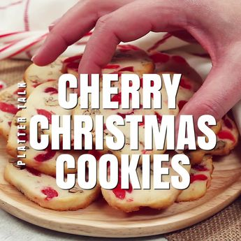 Cherry Christmas Cookies from Platter Talk food blog are an easy baked dessert recipe that will make the perfect addition to this years holiday cookie exchange! #fun #recipe #baked #Christmascookies #family #candycane #holidaycookies #santa