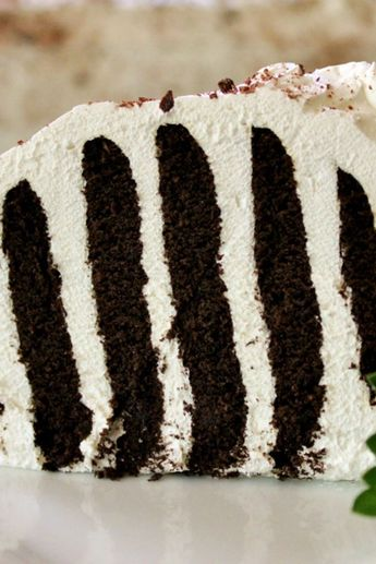 "Zebra Cake III | ""This easy-to-make icebox cake seems to be as popular today as it was 50 years ago."" #allrecipes #cakerecipes #bakingrecipes #dessertrecipes #cakes #vintagecakes #vintagecakerecipes #oldfashionedcakes"