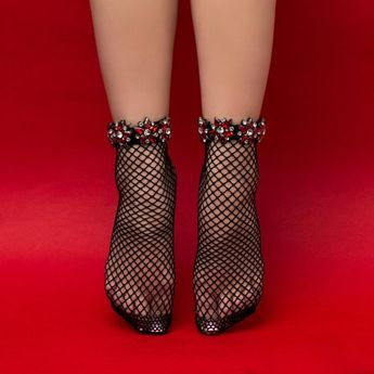 9d56944d8 Mother s Day Gift - Red   Black Crystal Fishnet Ankle Socks for Women