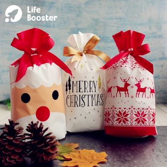Drawstring Christmas Gift Bags 😍 Are you tired of wrapping Christmas gifts one after another? Our Drawstring Christmas Gift Bags can save you from boring and tediousness. 😘🙌👏 #LifeBooster #ChristmasBags #GiftBags #Christmas #ChristmasGiftBags