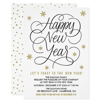gold snowflakes new years eve party invitation