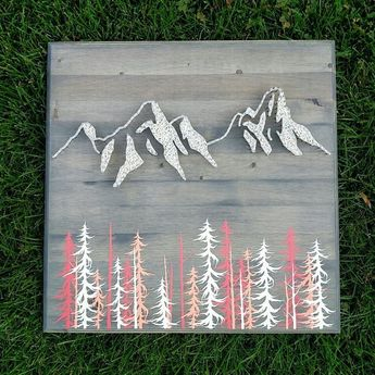 Mountain Range and Pines String Art. A good gift idea for the hiker in your life, or diy inspiration